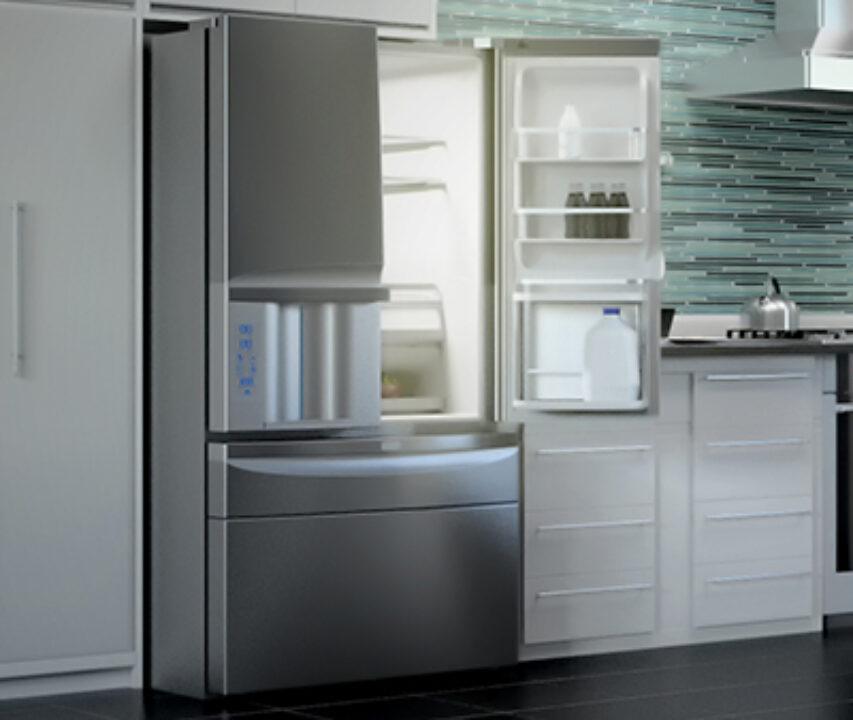LG Fridge in Kitchen 3d Rendering